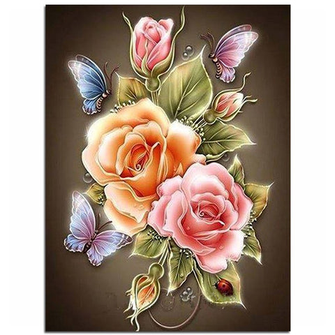 Diamond Painting Flowers Butterfly Rose - OLOEE