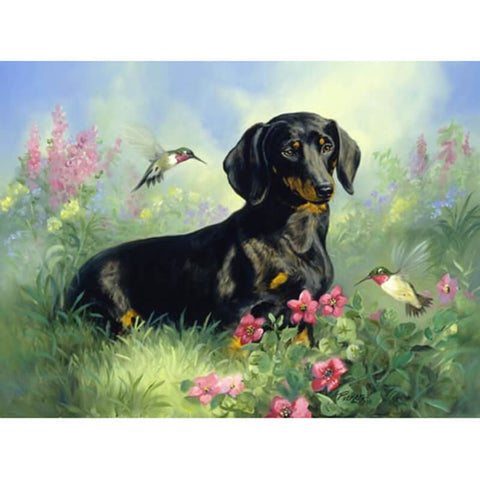 Diamond Painting Black Dog In Garden - OLOEE