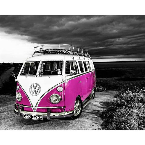 Diamond Painting Retro Purple Bus - OLOEE