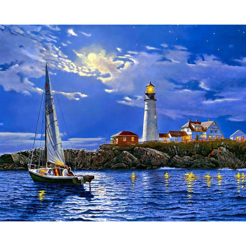 Lighthouse Night Painting - OLOEE
