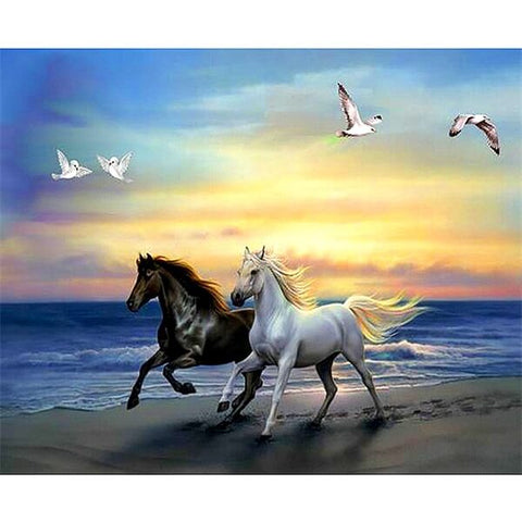 Diamond Painting Black and White Horses - OLOEE