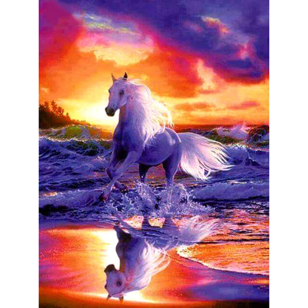 Diamond Painting White Sea Horse - OLOEE