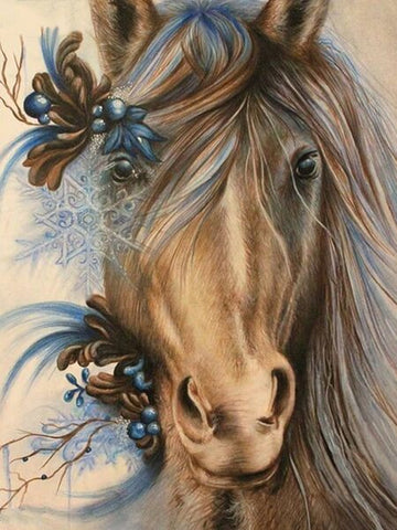 Diamond Painting Snowflake Horse Animal - OLOEE