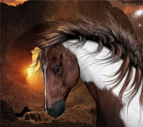 Diamond Painting Mountain Horse Animal - OLOEE
