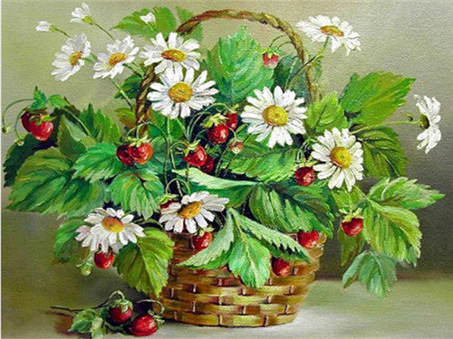 Diamond Painting Flower Basket Daisy - OLOEE