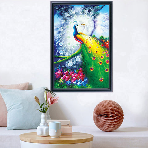 Diamond Painting Peacocks in Love-Partial - OLOEE