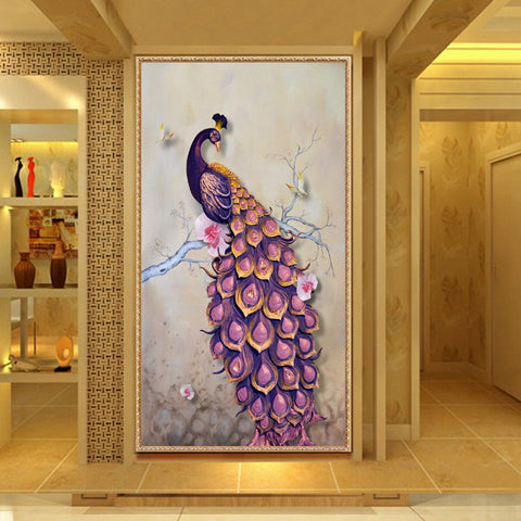 Diamond Painting Purple Peacock - OLOEE
