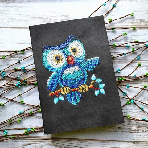 Diamond Painting Blue Owl Diamond Painting Notebook - OLOEE