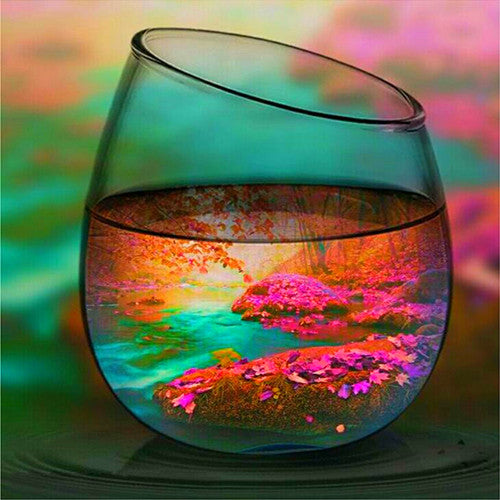 Diamond Painting Autumn Landscape In Glass - OLOEE