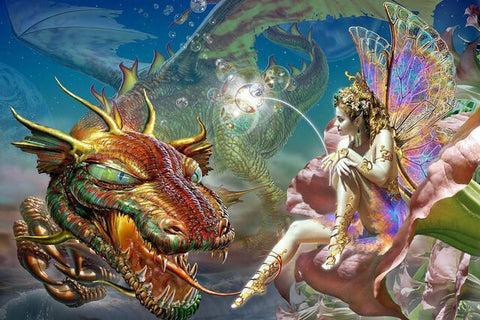 Diamond Painting Dragon Fairy Art - OLOEE