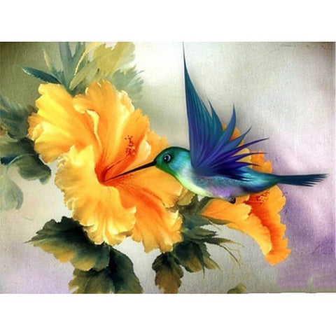 Diamond Painting Flower Hummingbird Bird - OLOEE