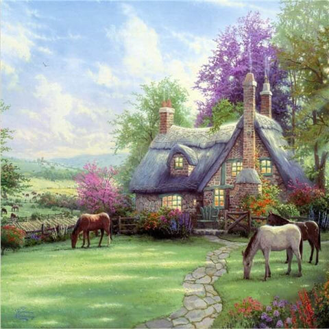 Diamond Painting Cottage Yard - OLOEE