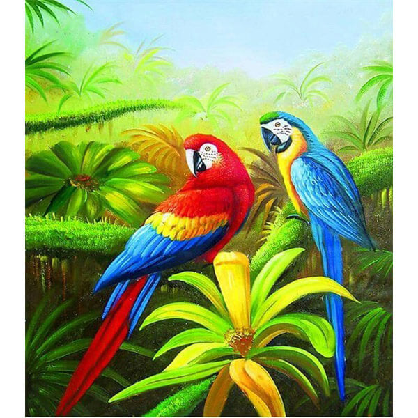 Diamond Painting Lovely Parrots - OLOEE