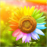 Diamond Painting Sunflower with Colorful Petals - OLOEE