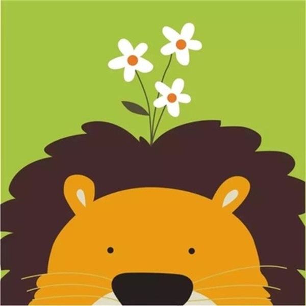 Diamond Painting Cartoon Flower Lion - OLOEE