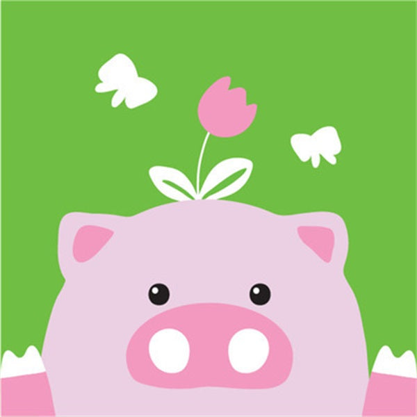 Diamond Painting Cartoon Flower Pig - OLOEE