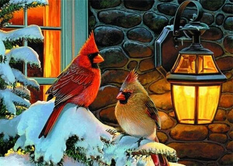 Diamond Painting Two Birds On  Winter - OLOEE