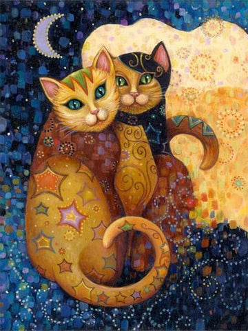 Diamond Oloee  Couple Cat Abstract - OLOEE