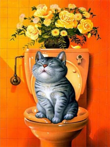 Diamond Painting Pooping Cat - OLOEE
