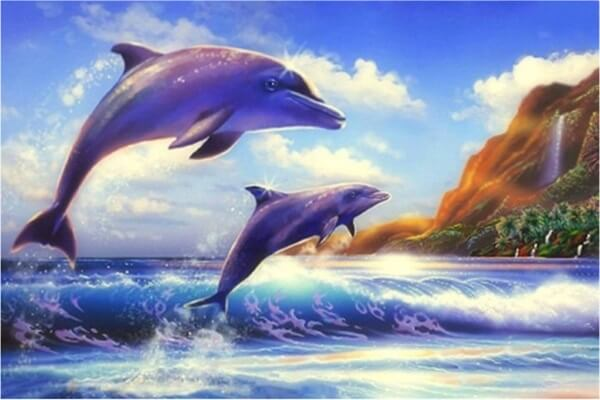 Diamond Painting Jumping Dolphins - OLOEE