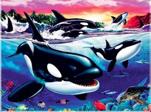 Diamond Painting Black Whales - OLOEE