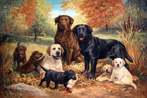 Diamond Painting A Family Of Labrador Dogs - OLOEE