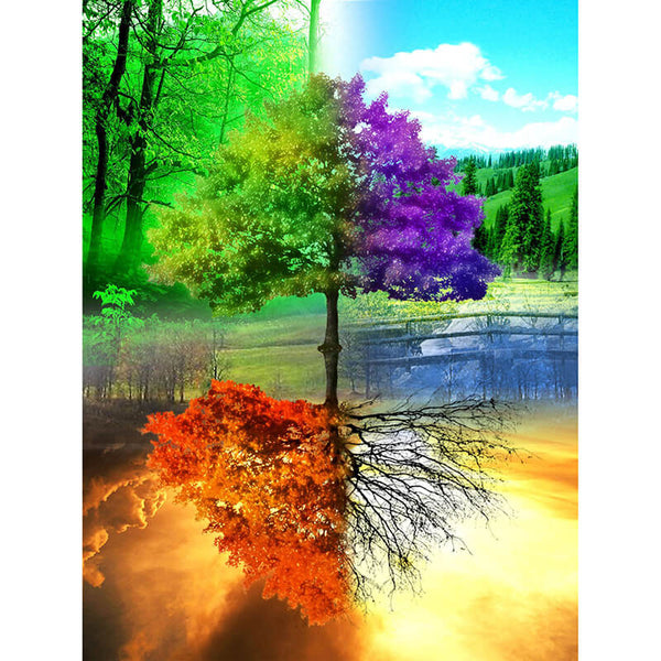 Diamond Painting Colorful Four Seasons Tree - OLOEE