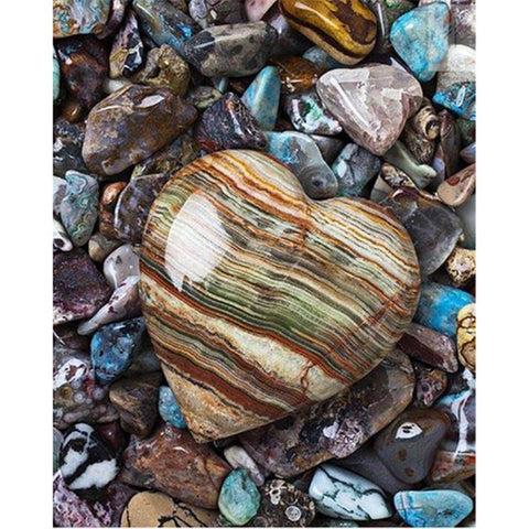 Diamond Painting Beach Heart Stone - OLOEE