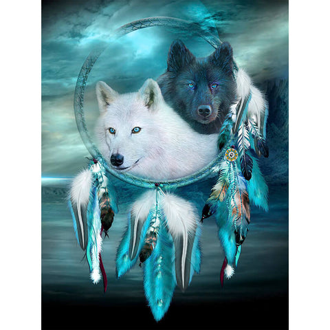 Diamond Painting Black and White Wolf Dream Catcher - OLOEE