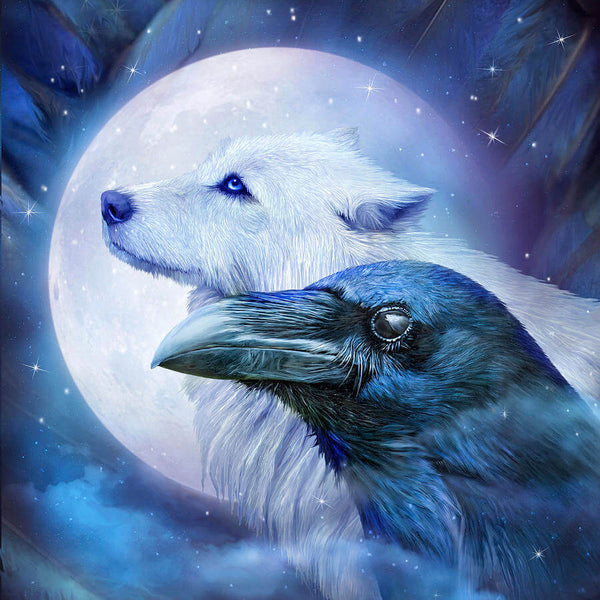 Diamond Painting Raven and Wolf - OLOEE