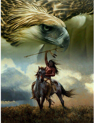 Diamond Painting Indian Horse Eagle - OLOEE