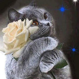 Diamond Painting Gray Cat and Flower - OLOEE