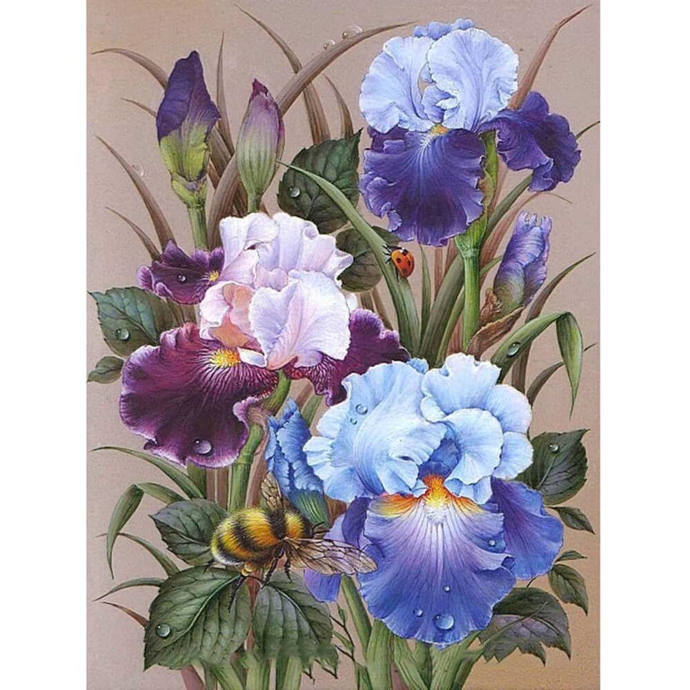 Iris Flowers Diamond Painting Kits Full Drill Oloee