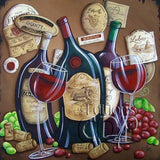 Diamond Painting Grape Wine and Glass - OLOEE