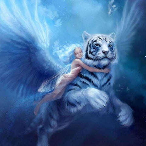 Diamond Painting White Tiger Angel - OLOEE