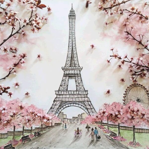 Diamond Painting Eiffel Tower with Cherry Blossoms - OLOEE