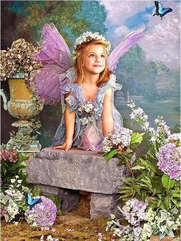 Diamond Painting Little Angel In Garden - OLOEE