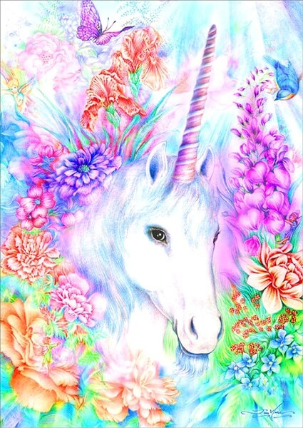 Diamond Painting Floral Unicorn - OLOEE