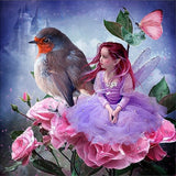 Diamond Painting Bird Flower Fairy - OLOEE