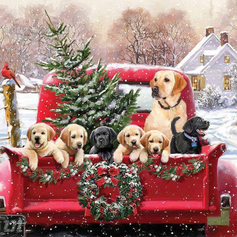 Christmas Truck Dogs