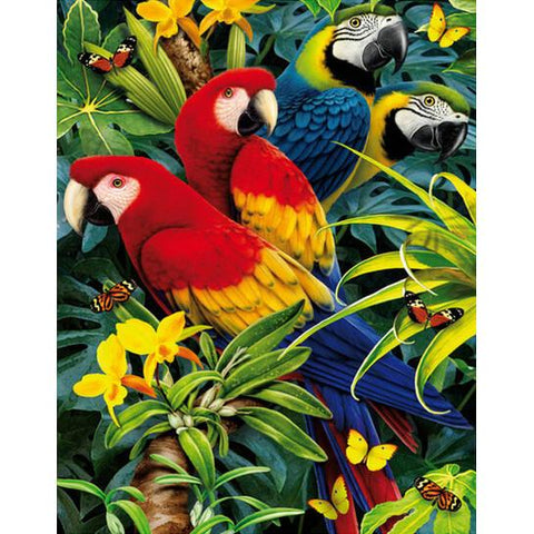 Diamond Painting Pairs Of Blue And Red Parrots - OLOEE