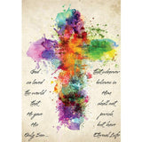 Diamond Painting Rainbow Cross Watercolor - OLOEE