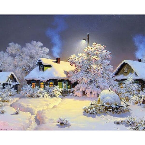 Diamond Painting Landscape Home Winter - OLOEE