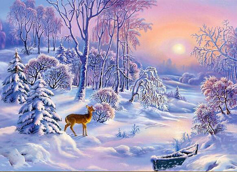 Diamond Painting Deer In Winter Snow - OLOEE