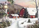 Diamond Painting Red Barn in Snow - OLOEE