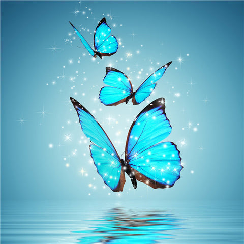 Diamond Oloee Sparkled Blue Butterfly - OLOEE