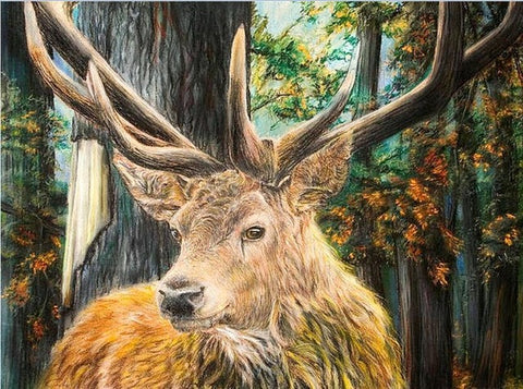 Diamond Painting Strong Horn Brown Deer In The Forest - OLOEE