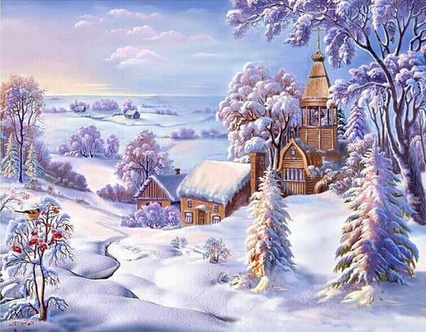 Diamond Painting Countryside in Winter - OLOEE