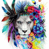 Diamond Painting Floral Indian Lion - OLOEE