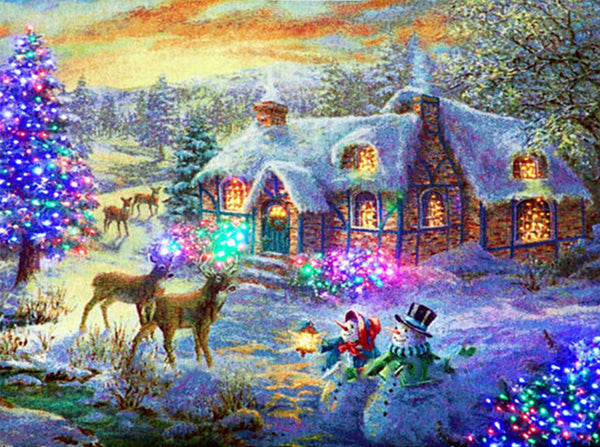 Diamond Painting Sparkling White Christmas in The Barn - OLOEE